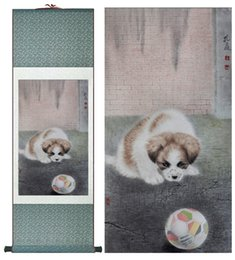 Silk Painting Fashion Australia - Dog Silk Art Painting Chinese Art Painting Home Office Decoration Chinese Cute Dog Painting1906151613