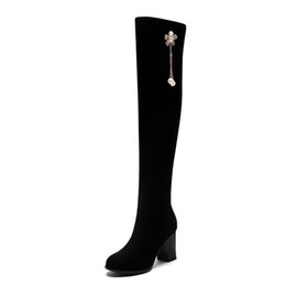 Ladies Over Knee High Boots UK - Size 34-46 Women Sexy Over The Knee Boots Woman Metal Decoration Shoes Ladies Fashion Plus Size Boot Female High Heels Shoe