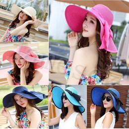 $enCountryForm.capitalKeyWord Australia - 25 style Summer Casual Solid Summer Hat Color Women Big Brim Straw Hat Sun Floppy Wide Brim Hats New Bowknot Folding Beach Cap dc375