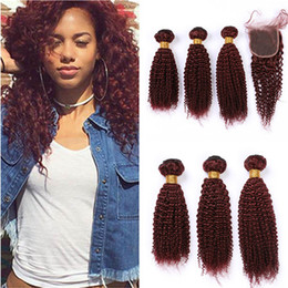 Discount red curly hair pieces #99J Burgundy Red Kinky Curly Peruvian Human Hair Weave Bundles with Closure Wine Red Curly Lace Closure Piece 4x4 with