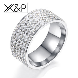 $enCountryForm.capitalKeyWord Australia - X&P Wedding Stainless Steel Crystal Rings for Women Men Lady Fashion 5 Row Rhinestone Silver Gold Female Women Ring Jewelry