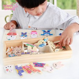 $enCountryForm.capitalKeyWord Australia - Infant Shining Jigsaw Puzzles Toy Wooden Blocks Baby Wooden Toys Bear Dressing Toy Educational Toys Model Kits Building Block MX190731