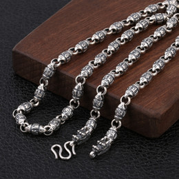925 silver dragon chain NZ - 925 Sterling Silver Double Dragon Head Men Necklace Vintage Punk Thai Silver Six Word's Mantra Necklace Fine Jewelry Xmas Gifts