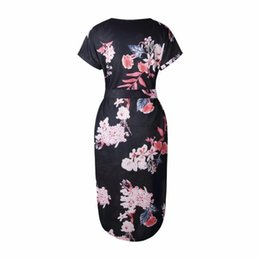 Discount dresses pencil mid calf length - Summer Style Dress Casual Asymmetrical Geometric Printing Short Sash Knee -Length Dress O-Neck Elegant Women Dresses