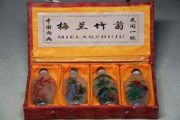 Chinese New Year Paintings Australia - 4PCS CHINESE INSIDE HAND PAINTING *MEILANZHUJU* GLASS SNUFF BOTTLE