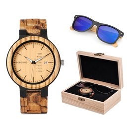 custom black gift boxes NZ - BOBO BIRD Classic Men Custom Wood Watch and Wooden Sunglasses Suit Present Box Gift Set for Dad Fathers Day
