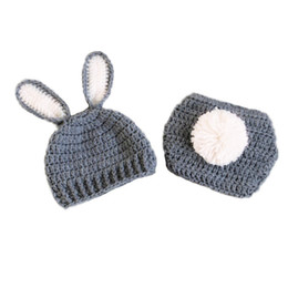 diapers summer UK - Newborn Grey White Easter Bunny Outfit,Handmade Knit Crochet Baby Boy Girl Rabbit Bunny Beanie Hat and Diaper Cover Set,Infant Photo Prop