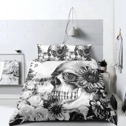 $enCountryForm.capitalKeyWord NZ - Popular Skull Bedding Set King Size 3D Duvet Cover Set Queen Twin Full Single Double Scary Image Print Bed Cover with Pillowcase 3pcs
