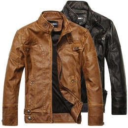 KhaKi motorcycle jacKet online shopping - Mens Leather Jacket Motorcycle Jacket Leather Coats Male Slim Fit Motocycle Biker Jacket with Colors Asian Size M XL
