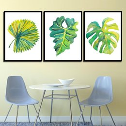 Painting Plants Australia - Decor Poster Girl'S Room Pictures Prints Painting Green Cartoon Plant Leaves Nordic Watercolor Style Kids HD Wall Art Canvas