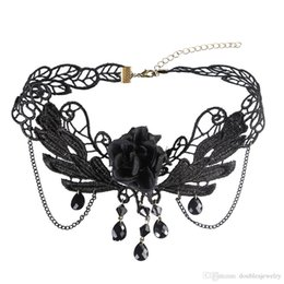 black bow choker Australia - Creative fashion and elegant ladies temperament Lace Necklace Pendant Drop bow wholesale