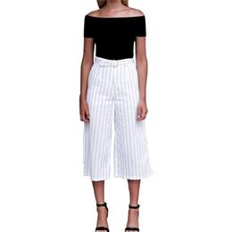 $enCountryForm.capitalKeyWord UK - Stripe Wide Leg Pants Loose Plaid Belt High Waist Palazzo Trousers Elegant Office Ladies Calf-Length Pants Woman Loose Drawstring KY-013