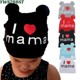 Scarfs Cotton Australia - New Spring Autumn Cotton Baby Hat with Soft Ear Girl Boy Cap Scarf I Love MAMA Print Children Beanie Cap Knitted Kids Hats