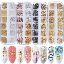 gold silver mix beads NZ - Rhinestones & Decorations 1 Box 3D Nail Art Alloy Metal Gold Silver Steel Beads Rivets Frame Seashell Mixed Shape Nail Jewelry Manicure