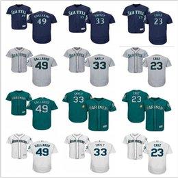 7ee5ae7793 ... sob encomenda da juventude Seattle Mariners Jersey   33 Drew Smyly 49  Yovani Gallardo 23 Nelson Cruz casa azul crianças meninas Camisas De  Beisebol