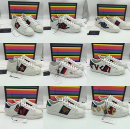 Discount flat leather boot womens - Ace Embroidered Sneaker Mens Classic Bee Low-top Stripe Leather Sneakers Womens Casual Trainers Designer Fashion 2019 Me