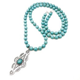 necklaces pendants Australia - Free Shipping Geometric Fashion Alloy Pendant Charm Turquoise Stone Necklace, Punk Styles Holiday Necklace For Women