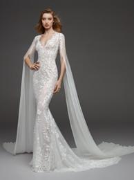 $enCountryForm.capitalKeyWord NZ - Sexy Mermaid Deep V Neckline Long-Sleeve Cape Lace Wedding Dresses 2019 Vestido de Novia Open Back Sheer Illusion Wedding Dress Bridal Gowns