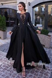 $enCountryForm.capitalKeyWord NZ - 2020 Black Satin Evening Dresses Long Sleeves Seen Through Lace High Split Formal Party Prom Gowns robes de soirée BC2384