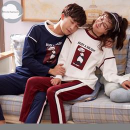 2ff676a1fa311 Couple de pyjamas d'automne tricoté coton Cartoon hommes ensemble de pyjamas  occasionnels femmes nuit pyjamas nuit Pijamas 3XL Accueil Vêtements