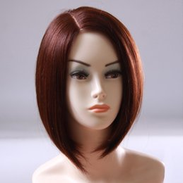 Support Hair Australia - Customization on Shoulder Bob Wigs Straight Brown Human Hair Wig Middle Parting Half Hand Tied Heat Resistant For Black Women OEM Supported