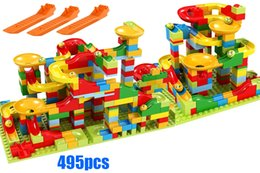 Marble Building Blocks Australia - 495pcs Small Size Marble Run Set Puzzle Maze Race Track Game Toy Roller Coaster Construction Building Block Brick Toy