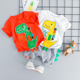 kids hot pants red Australia - Hot SaleToddler Baby Kids Boy Dinosaur Tops T-shirt Patchwork Short Pants Casual Outfits Summer Baby Clothes modis roupa menino