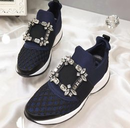 crystal mesh banding NZ - 2019 spring summer Trainer Fashion patchwork mesh shoes chunky Platform sole Rhinestone Strass Crystal Buckle strap Womens slip on Sneakers