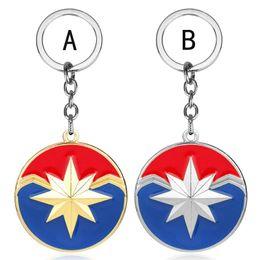 Superhero ShieldS online shopping - Avengers Captain America Carol Danvers Shield Logo Keychains Superhero Ms Marvel Thor Axe Pendant Car Keyring Jewelry Ms Marvel Pendants C2