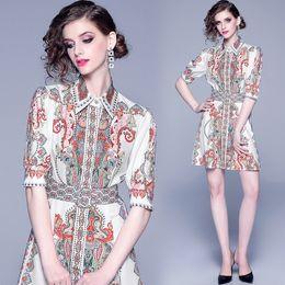 $enCountryForm.capitalKeyWord Australia - Hot Sale Women's Classic Printed Shirt Dress Beautiful Button Front Lapel Neck Elegant Office Lady Sexy Slim Runway Party Evening Dresses