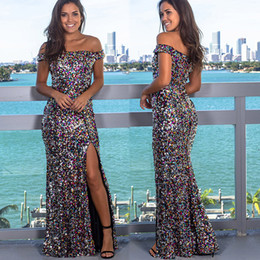 off shoulder high slit dress UK - New Luxury Off Shoulder Slit Sequins Evening Dresses 2020 Long vestido de festa longo Prom Dress robe de soiree Prom Party Gowns
