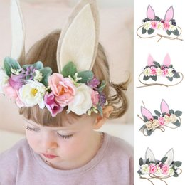 babies hair garland NZ - Cute Baby Girl Headband Ears Flower Kids Girl Headbands Seaside Holiday Toddler Hair Bands Baby Hair Accessories Garland