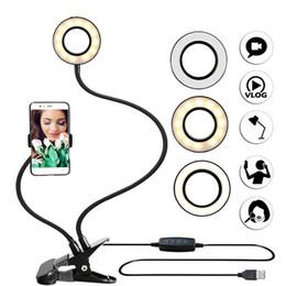 Фотостудия Selfie LED кольцо свет с мобильного телефона Держатель для Youtube Live Stream макияж камеры лампа для iPhone Android