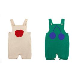 Cotton Cherry UK - INS Baby boys romper 2019 autumn toddler kids apple cherry pattern knitted sweater jumpsuits infant girls shorts suspender bodysuit F7680