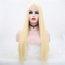 $enCountryForm.capitalKeyWord Australia - Hot selling fashion long hair wig 18 to 26 inch blonde straight lace front wigs with weaving cap free shipping