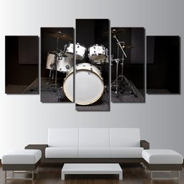 canvas prints free shipping NZ - 5 Piece HD Printed Canvas Art Modern Drum Painting Music Instrument Framed Wall Pictures For Living Room Free Shipping
