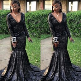$enCountryForm.capitalKeyWord NZ - Bling Black Sequins Mermaid Prom Dresses 2019 Backless Pageant Evening Gowns V Neck Straps Ruffles Long Formal Party Dresses Sweep Train