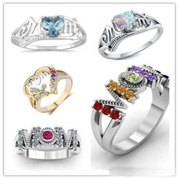 $enCountryForm.capitalKeyWord Australia - Fashion Zircon MoM Finger Rings Opal Love Hearts Ring For Mother Gifts Mix Size 6 7 8 9 10 CZ Diamond Ring