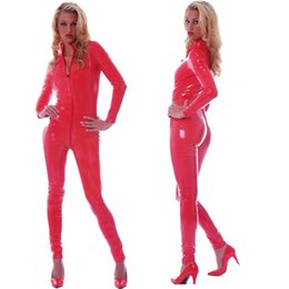 $enCountryForm.capitalKeyWord Australia - Sexy Costumes Plus Size S-5XL Black Red Faux Leather Catsuit Stretch Bodycon Fetish Cat Suit Wet Look Nightclub Jumpsuit