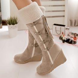 Lady Snow Boots Mid Calf Australia - Snow boots big size 4-10.5 cross-tied flock fashion mid-calf boots short plush increase ladies boot designer news