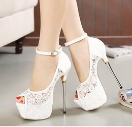 Hot Sexy White Dresses Australia - Hot! summer New Bridal White Lace Wedding Shoes Designer Shoes Ankle Strap 16CM Sexy Super High Heels prom dress shoes