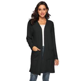 $enCountryForm.capitalKeyWord NZ - Solid Girl New Pockets V-neck Casual Open Casual Cardigan Long 2018 Knitted Big Front Women Regular Fashion