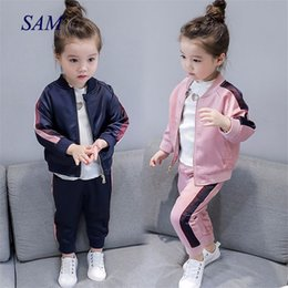 girls baseball uniforms NZ - 2019 Autumn New Girls Baseball Uniform Zipper Shirt Jacket + Trousers Sports Two-piece Clothing Sets For Chiildren's Clothes Y190522