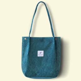 $enCountryForm.capitalKeyWord NZ - Women Corduroy Shoulder Bag Ladies Casual Eco Tote Handbag Folding Reusable Shopping Bags Purse Female Cotton Canvas Cloth Pouch