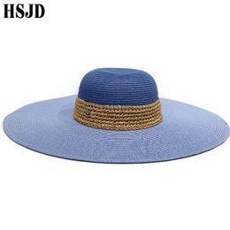 Chapeu floppy hat online shopping - Two color Patchwork Summer Straw hat Women Large Wide Brim Foldable Anti UV Beach Raffia Floppy Sun Hats Panama bone chapeu