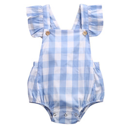 $enCountryForm.capitalKeyWord Australia - 2017 Sweet Baby Girl Clothes Summer Ruffled Sleeves Blue White Plaid Baby Romper Newborn Toddler Kids Jumpsuit Sunsuit