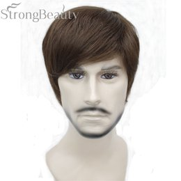 $enCountryForm.capitalKeyWord Australia - Synthetic Straight Hair Boy Short Side Part Black Brown Cosplay Men Women Wigs