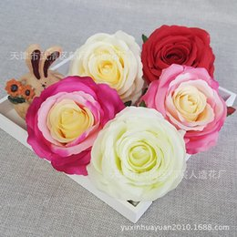 Wholesale Silk Cream Roses Flower Head for Wedding Flowers Accessories Make Bridal Hair Clips Headbands Dress Rose Flowerwall Gift Camera Props