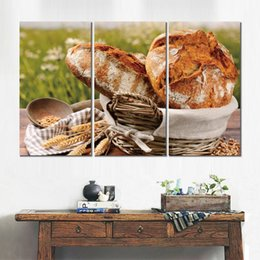 Painting Basket NZ - Canvas poster 3 panels basket bread cereals ears napkin picture printed painting for living room wall decoration