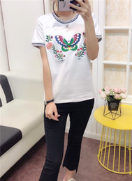 9a9e96e6 19ss luxurious brand design Guci Butterfly embroidery T-shirt Men Women  Breatheable Fashion Streetwear Sweatshirts Outdoor T-shirt
